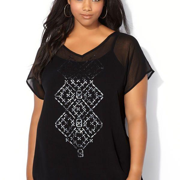 Sequin Diamond Chiffon Blouse-Plus Size Blouse-Avenue