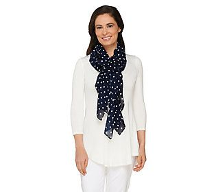 Susan Graver Polka-dot Print Chiffon Scarf with Ruched Detailing