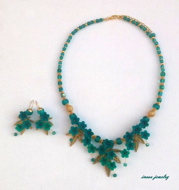 Emerald Jewelry Emerald Flowers Jewelry Pendant by insoujewelry