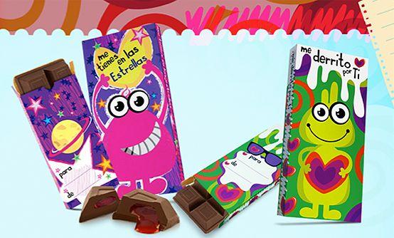 Tarjetas mounstritos. Barra de chocolatina con mensajes de amor.