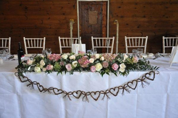 Top Table Arrangement Full Of Hydrangeas, Roses And