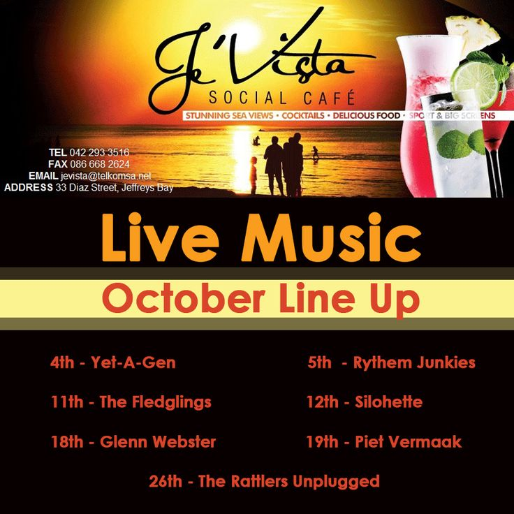 October Live Music Line Up has been finalized. We love to support our local bands as well as returning old favourites. Watch this space - we are revealing some exciting themed weekends with great specials! #livemusic #jevista #gigguide