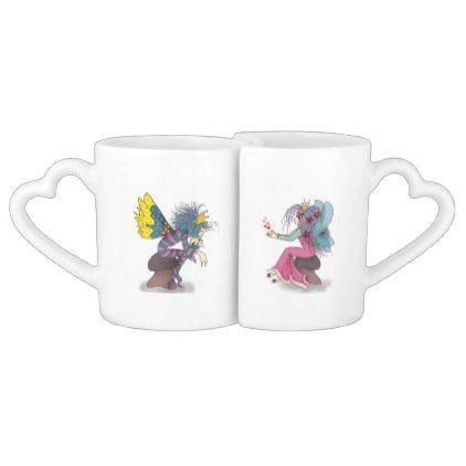 Fairy Tale Love Fantasy Couple Cartoon Butterflies Coffee Mug Set - decor gifts diy home & living cyo giftidea