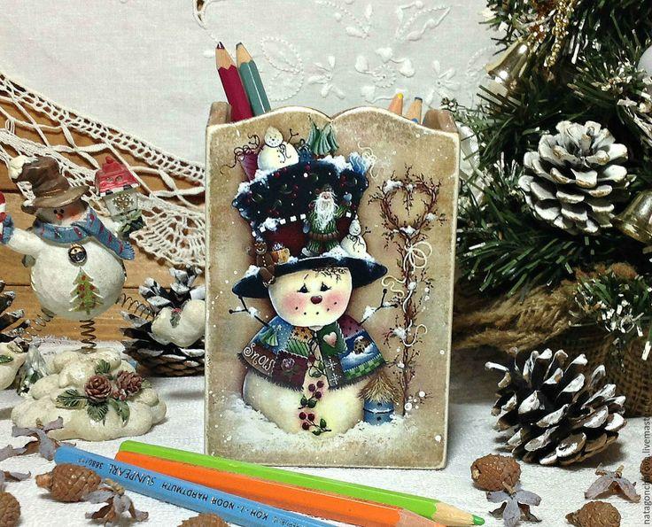 """Купить карандашница """"Веселые снеговики"""" - Декупаж, декупаж работы, подарок, карандашница, карандашница декупаж"""