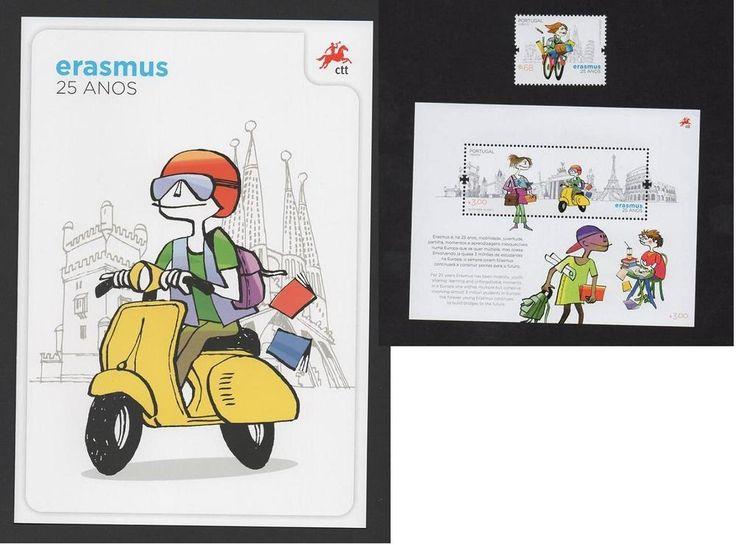 Brochure S/SheetStamp PORTUGAL 2012 ERASMUS UNIVERSITY EUROPE VESPA SCOOTER BIKE