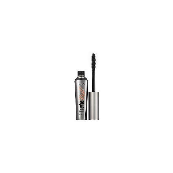 Benefit Cosmetics Jet Black Theyre Real Mascara ($24) ❤ liked on Polyvore featuring beauty products, makeup, eye makeup, mascara, lengthening mascara, benefit mascara, benefit eye makeup and glossy eye makeup