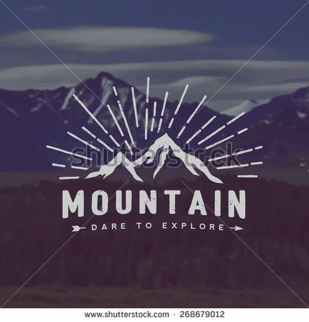 vector mountain exploration emblem. outdoor activity symbol with grunge texture on mountain landscape background - stock vector