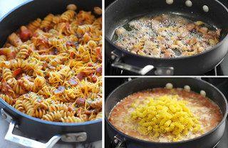 Faites d'abord revenir du poulet en dés avec des lardons, puis ajoutez de la sauce barbecue et de la sauce tomate, avec des tomates fraîches en dés, ajustez avec un bon volume d'eau à 2...