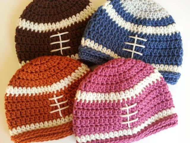 Crochet Football Beanies for Babies no pattern yet.