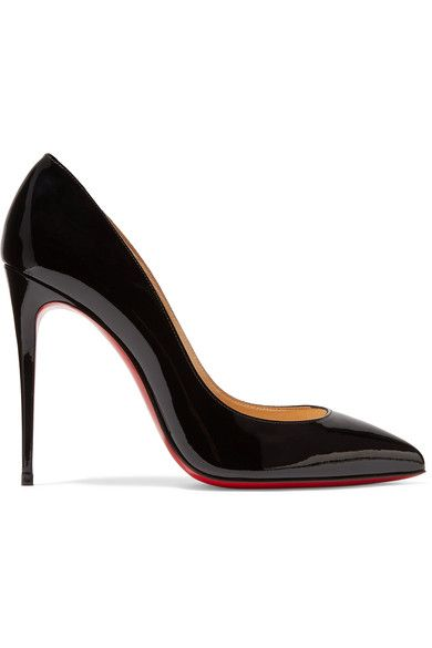 Heel measures approximately 100mm/ 4 inches Black patent-leather Slip on Made in ItalySmall to size. See Size & Fit notes.
