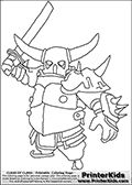 Coloring page with the P.E.K.K.A character from the extremely popular Clash of Clans App. The P.E.K.K.A is the last available unit that can be trained from the normal elexir barracks, a super strong unit that is vulnerable to lightning. Print and color this Clash of Clans page that is drawn by Loke Hansen (http://www.LokeHansen.com) based on a Clash of Clans iPhone 5 App screenshot or game promotion.