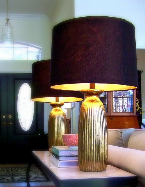 DIY Metallic Lined Lampshades