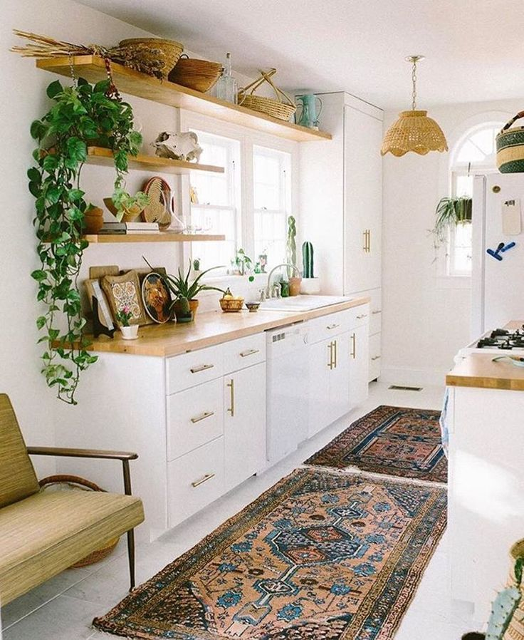 kitchen with a vintage rug