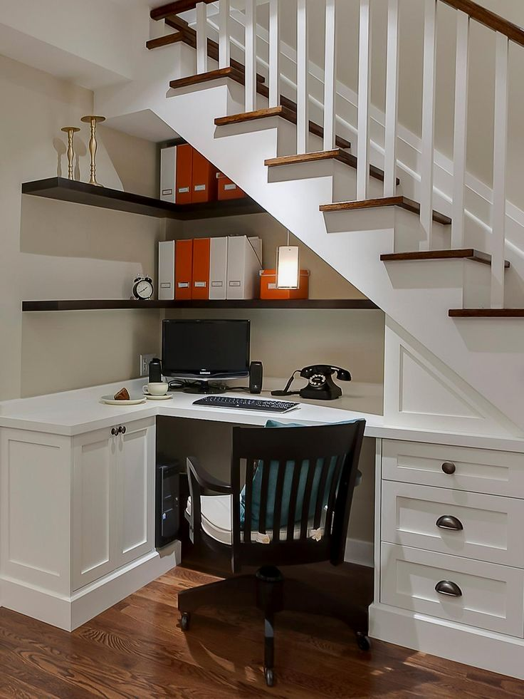 Get Inspired To Overhaul Your Home Office At Hgtv Com Browse Photos Of Studies That Blend Stylish Design With Smart Storage Spa Meuble Sous Escalier Maison Et Amenagement Sous Escalier