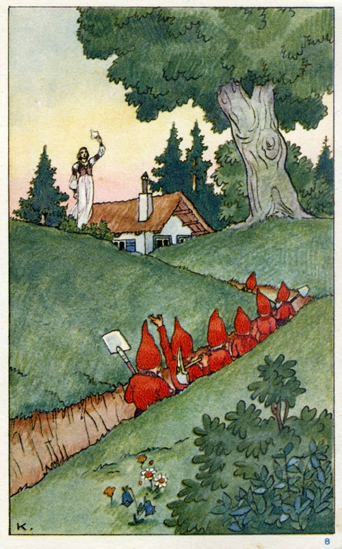 An old German Snow White and the Seven Dwarves illustration.