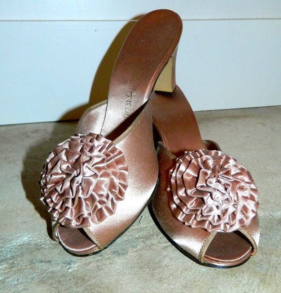 Vintage Satin Slippers 70s Mauve Mules Daniel Green By Retrotrend 38 00
