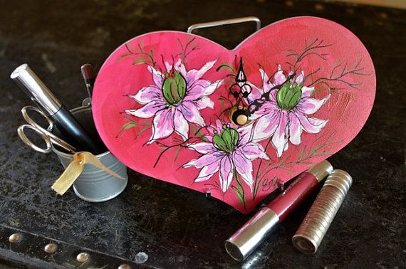 Hot Pink Heart Clock Love in a mist ink and by ArtDecadance