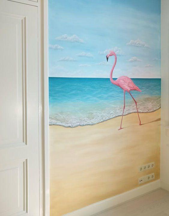 Strand muurschildering, flamingo, zee. Gemaakt door BIM Muurschildering.   beach mural painting flamingo