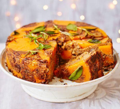 Butternut, chestnut & lentil cake