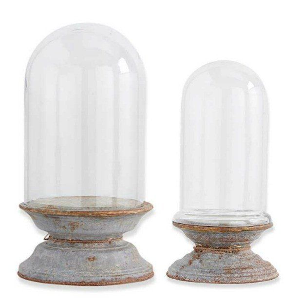 Antique Bell Stonebriar Clear Glass Dome Cloche with Rustic Wooden Base