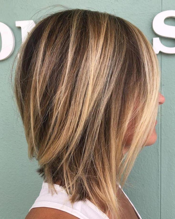 70 perfekte mittellange Frisuren für dünnes Haar # 37: Messy Inverted Lob A choc …