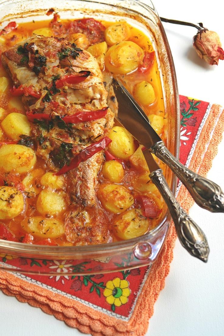 Hoje para jantar ...: Red fish com arroz de tomate no forno