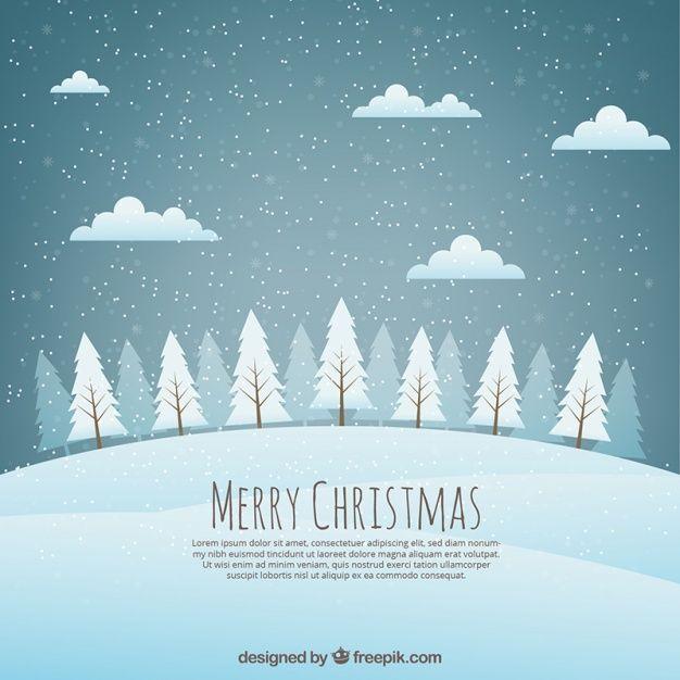 Noël paysage d'arrière-plan avec des arbres enneigés Vecteur gratuit