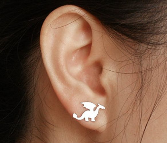 dragon earring studs in sterling silver