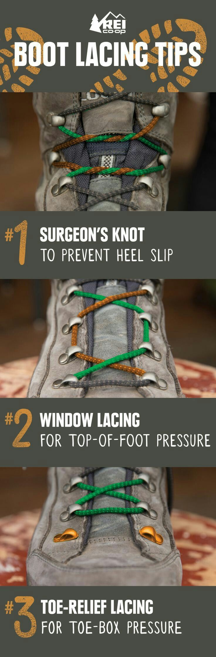 Most of us master shoe-tying in elementary school and don't give our laces much thought after that. If your hiking boots start to wear on your feet in uncomfortable ways, though, you'll be glad to learn a few new lacing tricks that could help improve your comfort!!