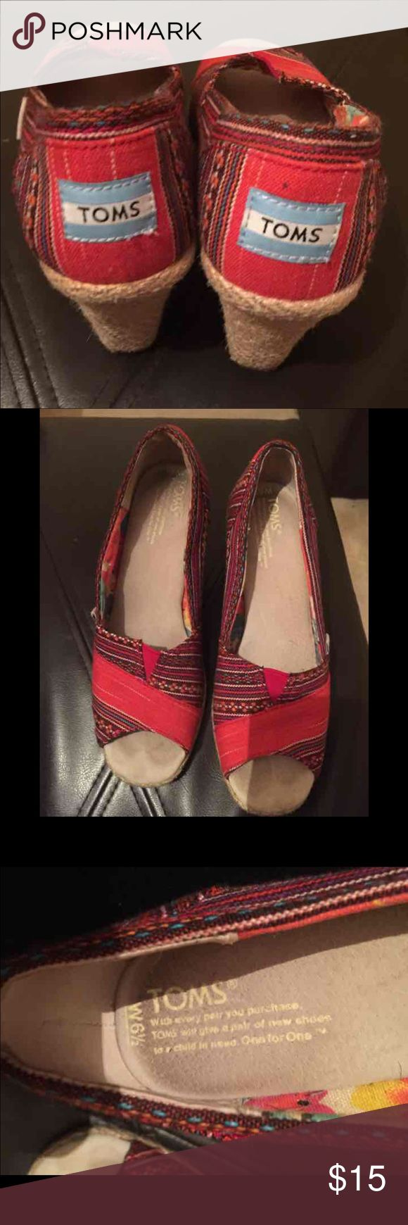 Multi Color Toms Wedges Tom Wedges, size 6.5, red/ multi colors, great condition TOMS Shoes Wedges