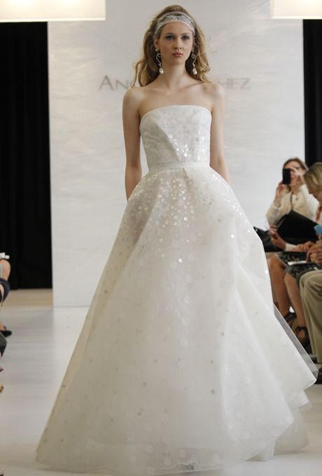 Brides: Angel Sanchez - Spring 2013. Strapless organza A-line wedding dress with sequin details, Angel Sanchez