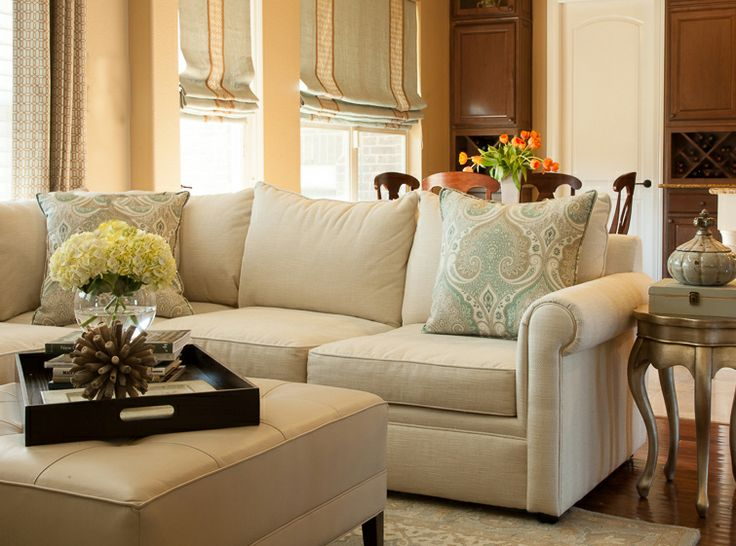 Family Room Interior Part - 39: Traditional Family Room With Roman Shades