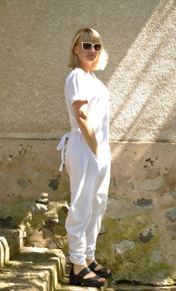 White Harem jersey Jumpsuit/Women casual jumpsuit/Loose