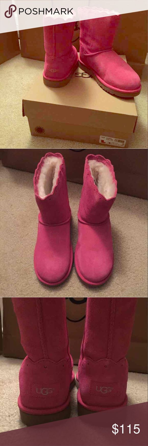 NWT Hot Pink Short Uggs (kid's/women's) New in Box Hot Pink Short Ugg Boots!  Super cute design and 100% Authentic!  I have one pair that is a kid's 4, which is equivalent to a women's 6!              And I have another pair that is a kid's 5, which is equivalent to a women's' 7! UGG Shoes Winter & Rain Boots