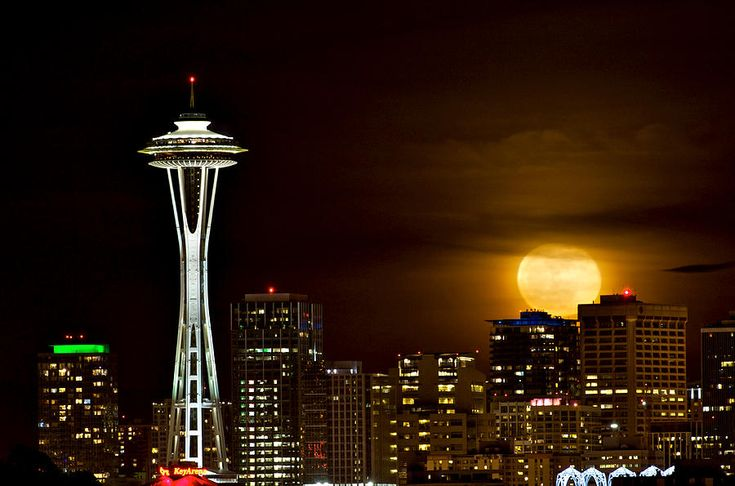 Full moon with Space Needle  Photograph  - Full moon with Space Needle  Fine Art Print