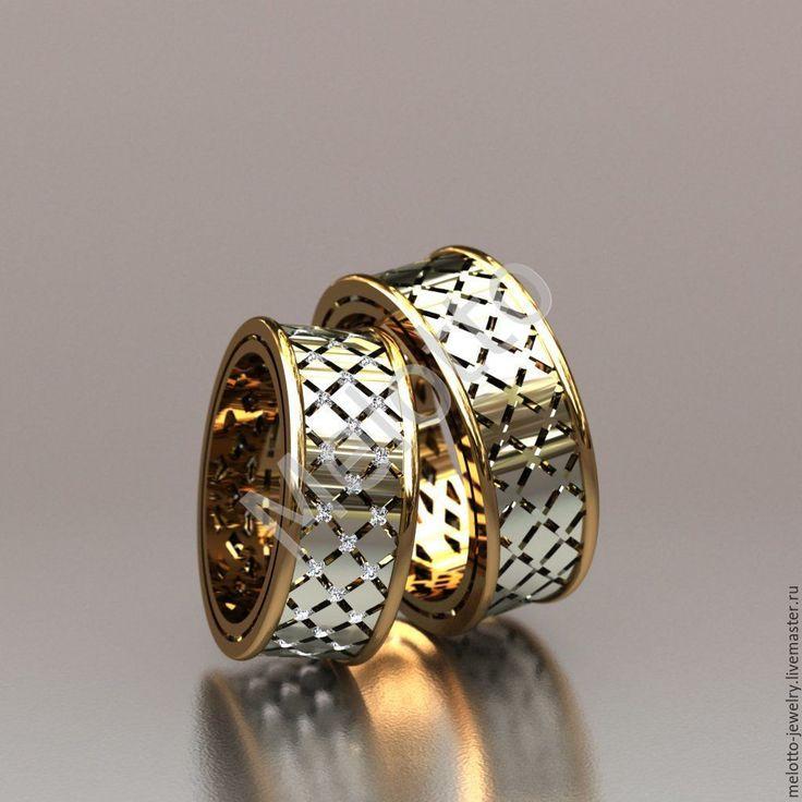 Gold Wedding Ring / Золотые обручальные кольца с перфорацией - золотой, ювелирные украшения, обручальные кольца, свадебные кольца