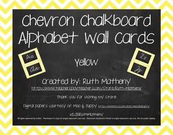 Chevron Alphabet Wall Cards Manuscript  Cursive - Yellow