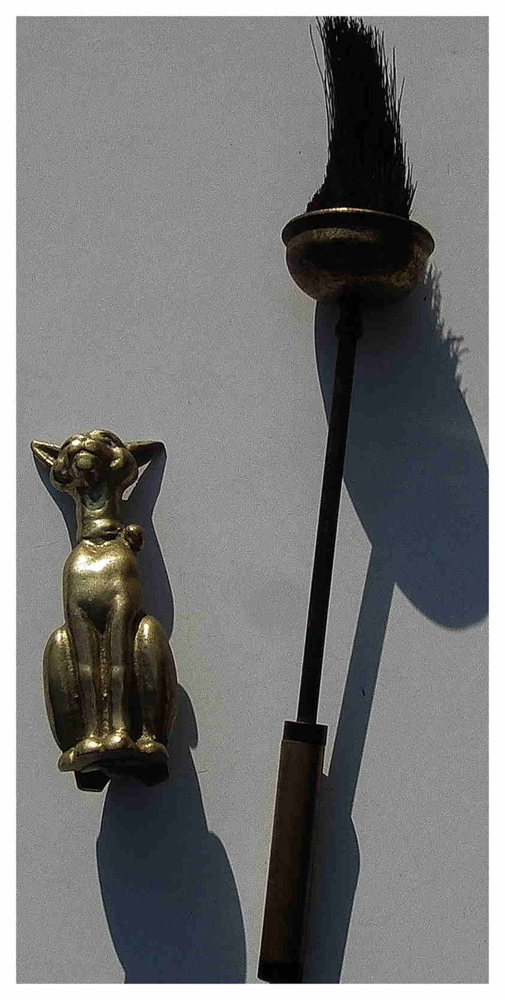 1948 British Patent Design Novelty Brass Cat House Brush Stand | eBay