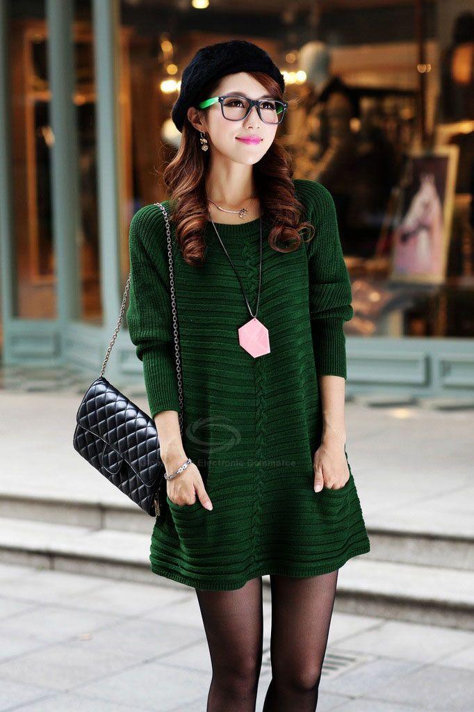 Ladylike Style Long Sleeves Scoop Neck Pocket Embellished Solid Color Sweater Dress For Women   Sammydress.com