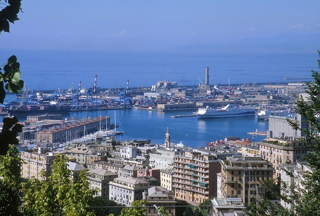 Panoramic view on the Port of Genova from the hill of Castelletto