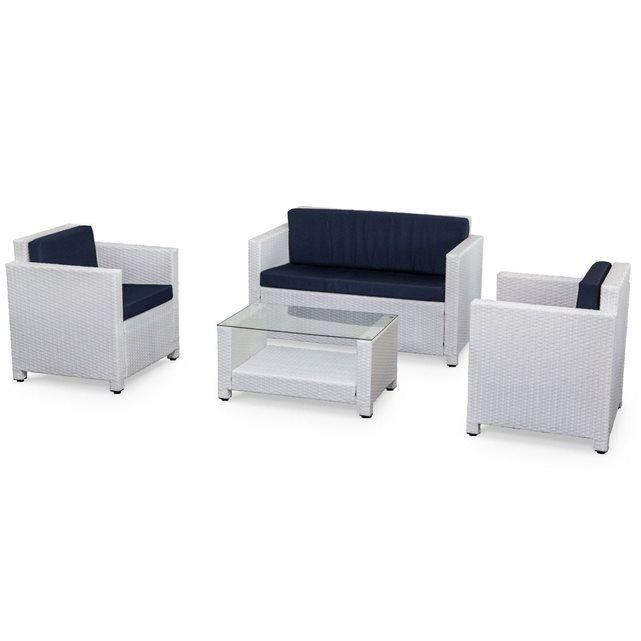 Salon de jardin en résine tressée 4 places blanc Perugia fauteuil canapé ALICE S GARDEN