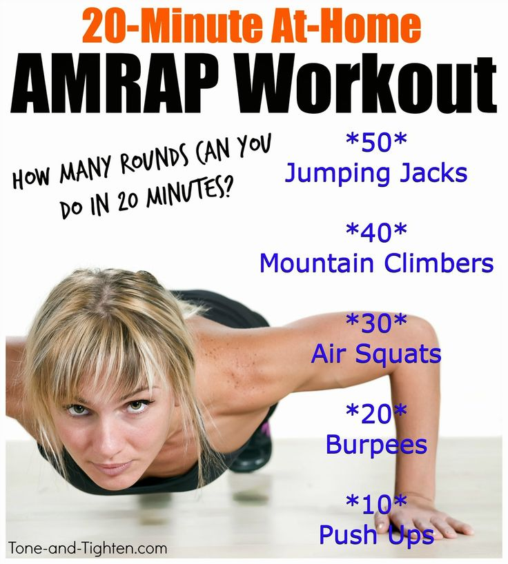 20 minutes is plenty of time to get in an AMAZING workout! Try out this at-home AMRAP! #workout #fitness from Tone-and-Tighten.com