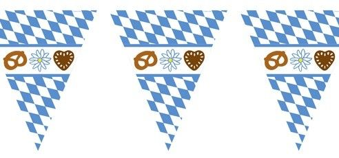 Wimpel: Wimpelkette, Bayernwimpel mit Oktoberfestmotiv, 2,70 m x 22 cm Oktoberfest Deko Wimpel & Fahnen. Der Fetenman macht Deine Party bunt - party-deko-shop.de