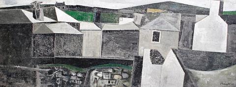 'HOUSES, ST JUST' | David Haughton: Oil on board 30 x 78 cm (11.8 x 30.7in.)     ✫ღ⊰n