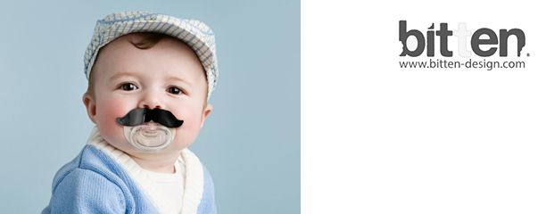 Moustache bitering and pacifiers