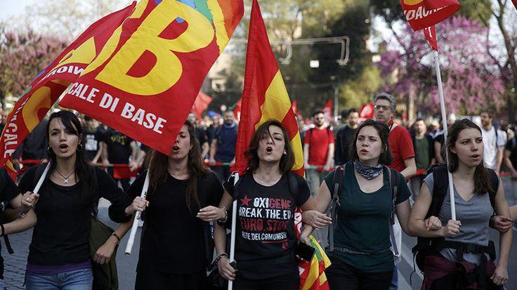 Anti-EU activists take to streets as Rome hosts celebrations of EU treaty anniversary