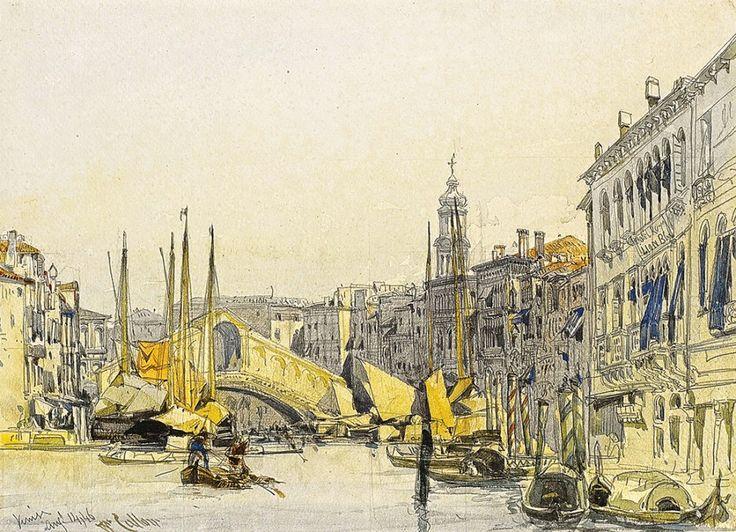 """""""Гранд канал, глядя на мост Риальто, Венеция"""", английский художник Каллоу Уильям, Мост Риальто — один из четырех мостов через Гранд-канал в Венеции, располагается в квартале Риальто. Самый первый и самый древний мост через канал, самый известный мост Венеции и один из символов города. Построен в самой узкой части Гранд-канала. Изначально был деревянным и неоднократно рушился, в конце 16 века был возведен новый мост из камня, дошедший до наших дней."""