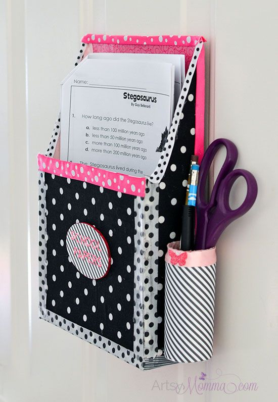 Upcycle a cereal box into a Magnetic Hanging Paper Organizer for Homework