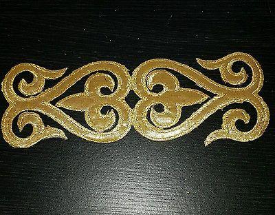Gold embroidery patch lace applique venise dress Irish Celtic dance costume