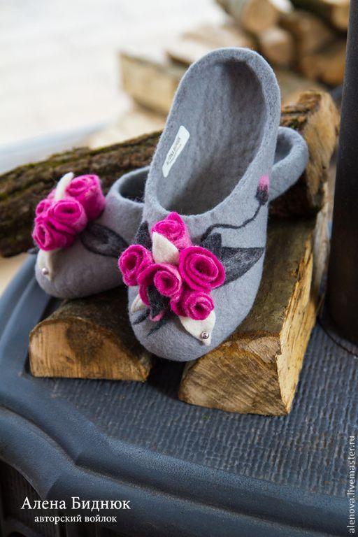 Купить Валяные тапочки - серый, валяные тапочки, войлочные тапочки, обувь на заказ